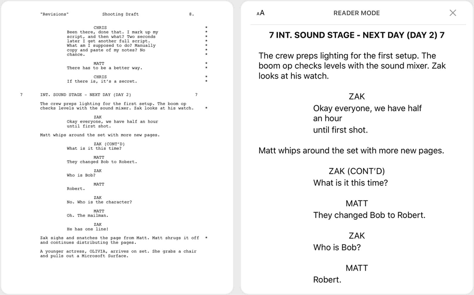 Scriptation PDF Annotation App Film TV Production Reader Mode